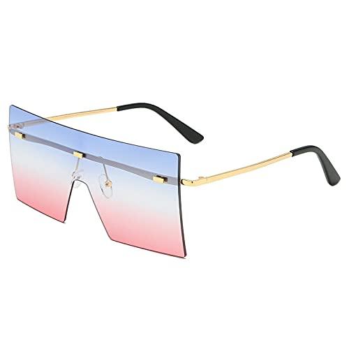 Moda Gafas De Sol Cuadradas De Gran Tamaño A La Moda para Mujer, A La Moda, Sexy, Rojo, Marrón, Teñido, Lentes De Color Uv400, Gafas De Sol Retro para Mujer, Azul Rosa