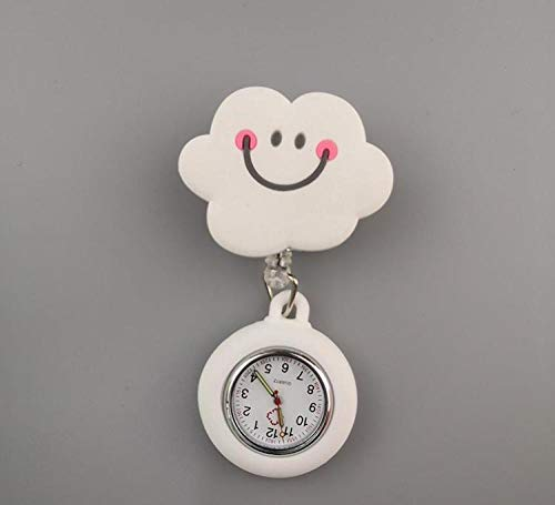 Reloj Médico,Reloj de Enfermera y médico, Reloj de Bolsillo con Cofre de Dibujos Animados retráctil-lechoso,Reloj Médico de Bolsillo de Silicona