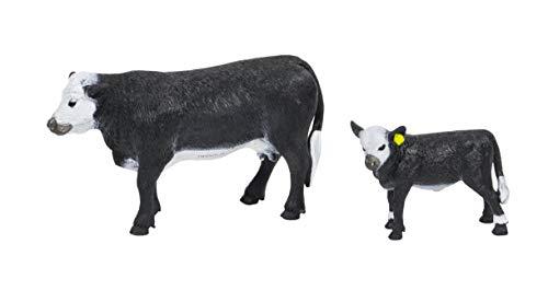 Big Country Toys Black Baldy Cow & Calf - 1:20 Scale - Hand Painted - Farm Toys - Farm Animals