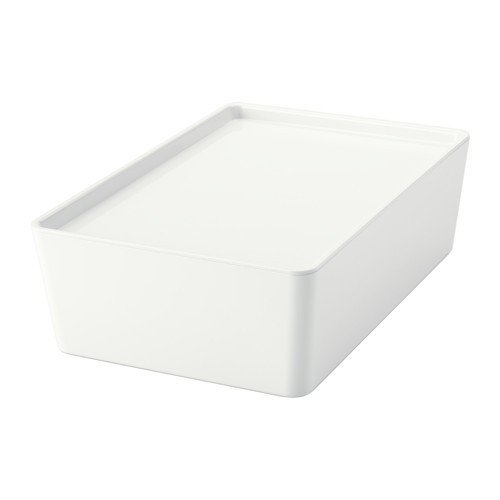 Ikea KUGGIS Box mit Deckel; in weiß; (18x26x8cm)
