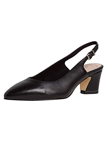 Tamaris Damen Pumps 29611-24, Frauen Sling-Pumps, Leder knöchelriemchen büro-Pumps Office bequem elegant,Black Leather,41 EU / 7.5 UK