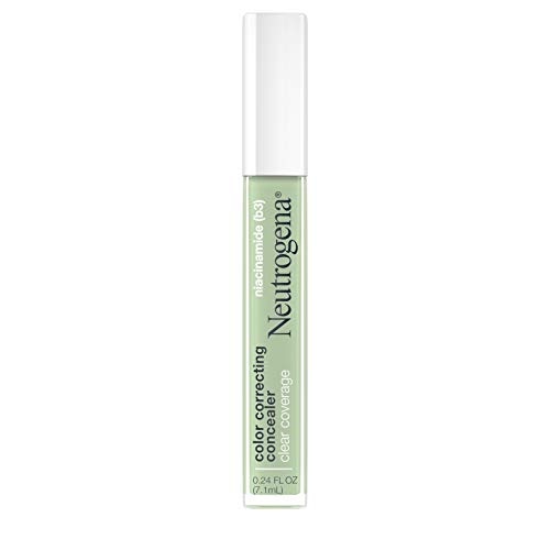 Neutrogena Clear Coverage Color Correcting Green Concealer Makeup, Lightweight Face Concealer with Niacinamide & Green Pigment to Help Reduce Redness, 0.24 fl. oz