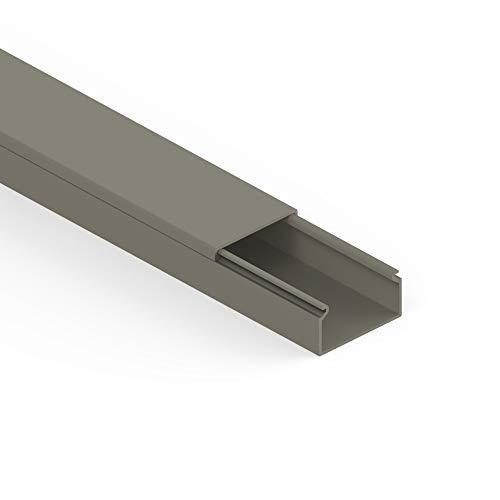 Habengut Kabelkanal (mit Montagelochung im Boden) 30x15 mm aus PVC, Farbe: Grau, Länge 1 m