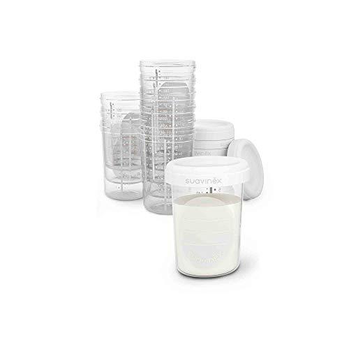 Suavinex - tarritos almacenaje leche materna 10 unidades. para Congelar y Transportar leche materna. sin BPA. con tapa de Rosca Hermética anti-Fuga