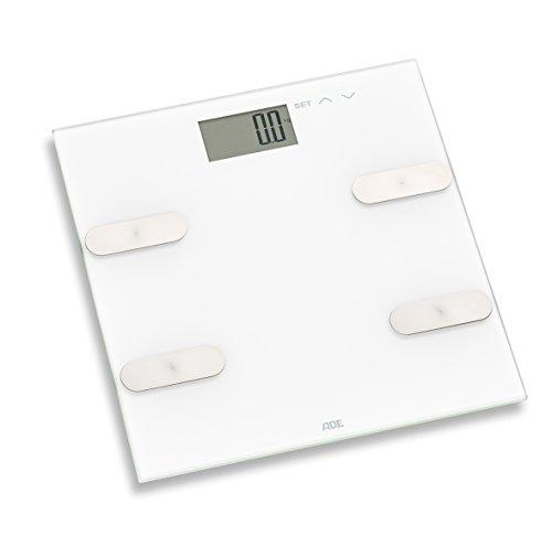 ADE BA 1702 Marleen Körperfettwaage (Digitale Körperanalysewaage zur Analyse von Gewicht, Körperfett, Körperwaaser und Muskelmasse, bis 180 kg) weiß