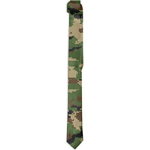 Paedto Corbatas para hombres Moda para hombre Novedad Accesorio de vestuario causal Camuflaje verde militar Estampado en 3D Corbata Corbata delgada para la cena de boda