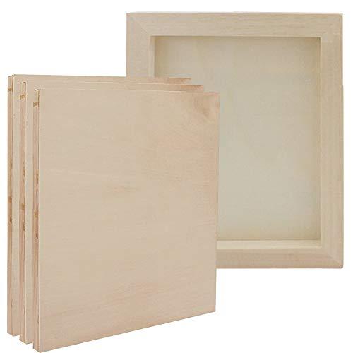 Panel de Madera para Pintar, 4 Piezas (22.5 * 19cm/8.85 * 7.5inch) Tablero de Dibujo de Bricolaje, Lienzo de Madera para Manualidades de Técnica Mixta, Decoupage, Fotos