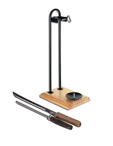 Schinkenhalter vertikal schwarz mit Holzboden + Geschenk Messer und Gestell