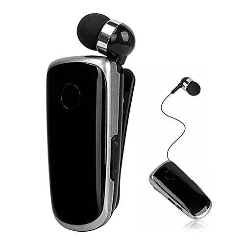 Iriisy Mini auriculares inalámbricos auriculares inalámbricos llamadas recordatorio vibración desgaste clip deporte running auricular manos libres retráctil (negro)