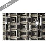 Manteles Individuales Griegos,Manteles Individuales De Café Diseño Abstracto Moderno De Llaves Griegas Comprobación Geométrica Textura Superficial Manteles Individuales Para Cocina Casera,4 Piezas Set