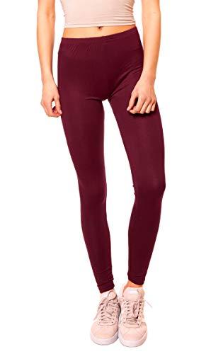Easy Young Fashion Damen Basic Viscose Jersey Leggings Leggins Lang Uni Einfarbig One Size Merlot