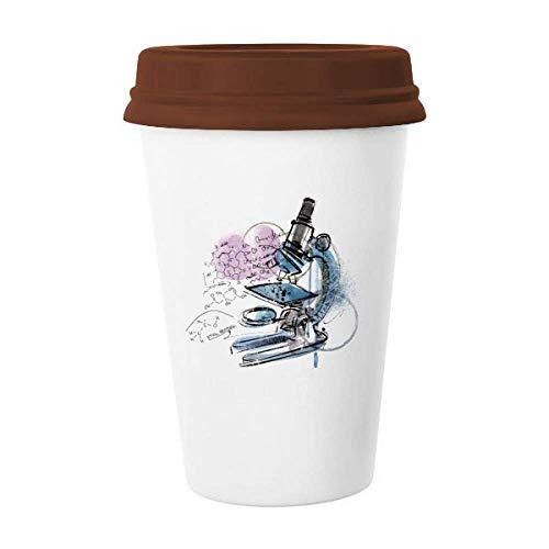 Chemistry Kowledge Microscope Mug Coffee Drinking Glass Pottery Ceramic Cup Lid