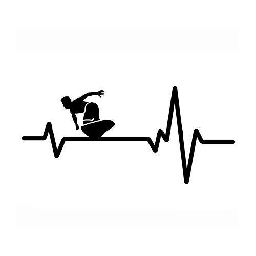 SUIFENG Car Stickers 14.8x6.8CM Coolest Surfer Heart Beat Line Decor Car Styling Sticker Vinyl Black Silver