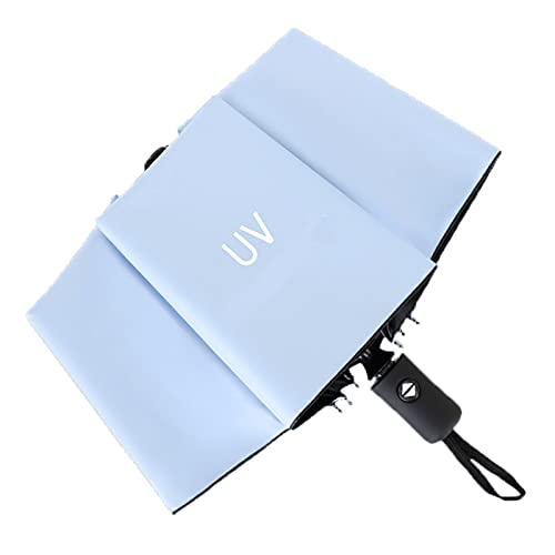 Paraguas Plegable Anti UV Automático Encendido Y Apagado, Umbrella Secado Rápido Compacto Y Ligero Durable A Prueba De Viento para Lluvioso O Soleado De Viaje (Cielo Azul)
