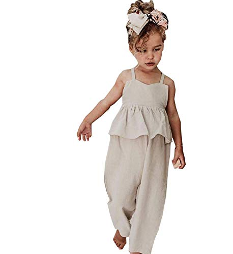 Noubeau Toddler Kids Baby Girl Sleeveless Ruffle Romper Jumpsuit Backless Playsuit Outfit Overalls (White, 4-5 Years)