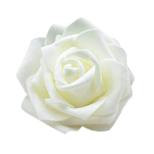 Ogquaton - 50 rosas artificiales de seda para ramo de boda, color crema, elegantes y populares