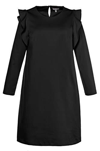 Ulla Popken Damen große Größen | Kleid | Punto di Roma-Jersey | Volants | Rundhalsausschnitt |...