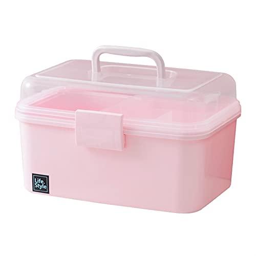 JSBAN Pink Transparente plástico multilapa niños Accesorios de Pelo Caja de Escritorio cosméticos joyería manicura Caja de Almacenamiento de Tres Capas (Color : Small)