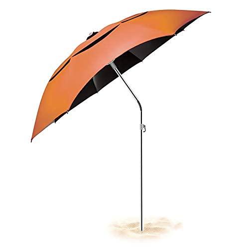Parapluie de plage, parasol de plage Φ1.8M avec ancre de sable et mécanisme dinclinaison, parasol de protection UPF 40+ en fibre de carbone avec sac de transport pour patio, piscine, plage extérieure