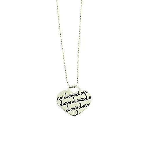 Sciccherie Collar colgante mujer corazón con inscripción 'Love' azul plata 925 bañada en oro blanco, collar con corazón colgante con inscripción azul. Longitud 44-47 cm.