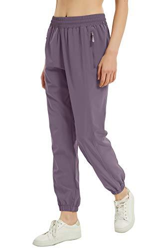 VEOBIKE Women's Lightweight Garden Pants Drawcord Elastic Waist Stretch Dog Walking Golf Yoga Pants Sun Protection Grey Purple