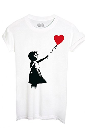 MUSH T-Shirt Banksy Cuore Palloncino - Famosi by Dress Your Style - Donna-L-Bianca