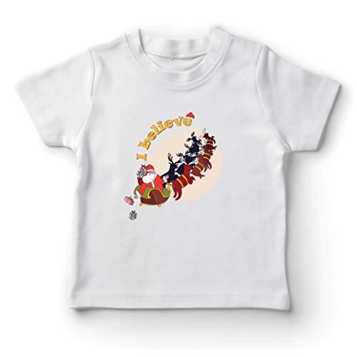 lepni.me Camiseta para Niño/Niña Cree en Santa Claus Navidad Imprimir en días Festivos (7-8 Years Blanco Multicolor)