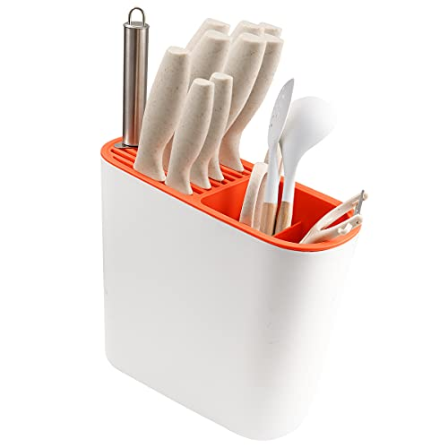 Knife Block with Slots for Scissors and Drainboard, Countertop Slot Organizer for Knives/Forks/Spoons, Space Saver Kitchen Utensil Holder – Plastic(Orange)