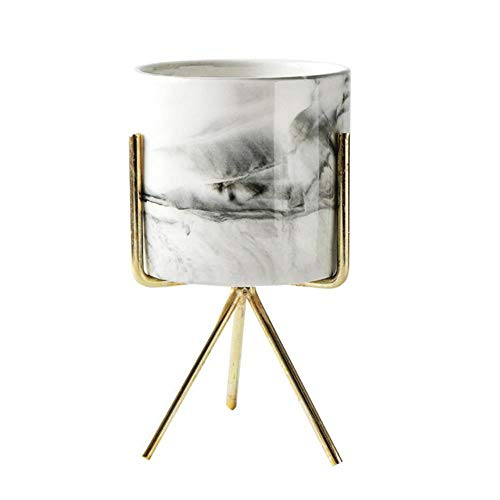 AOM Nordic Home Minimalist Style marmeren vaas smeedijzer tabletop vetplanten bloempot goud + wit keramiek L multi