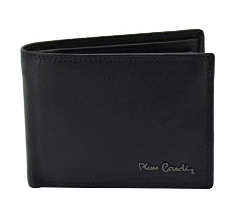 Pierre Cardin, cartera negra para hombre, cuero auténtico, tarjetero y monedero, caja de regalo Negro clásico Classico