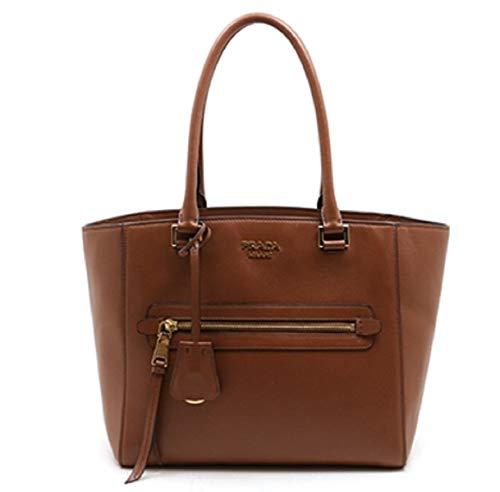 Prada Twins Pocket Cognac Medium Glace Calf Leather Tote Shoulder Bag 1BG227