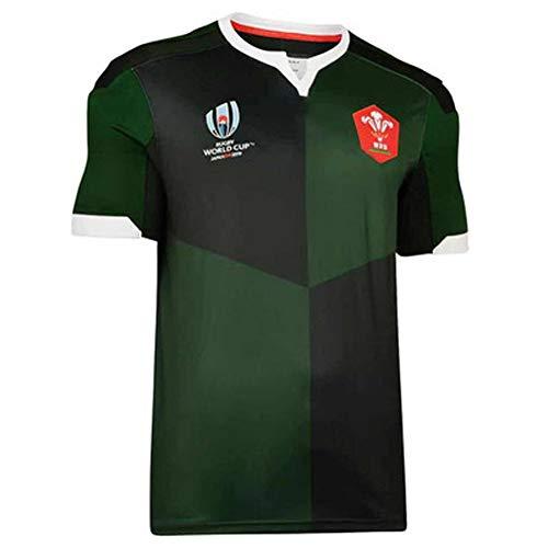 2019 Japan World Cup Rugby Trikots Wales Heimfußballtrikot Polo Shirt, Wettkampftraining Sweatshirt Stickerei Polyesterfaser schnell trocknend atmungsaktiv Green-M