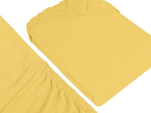 npluseins klassisches Jersey Spannbetttuch – erhältlich in 34 modernen Farben und 6 verschiedenen Größen – 100% Baumwolle, 70 x 140 cm, gelb - 3
