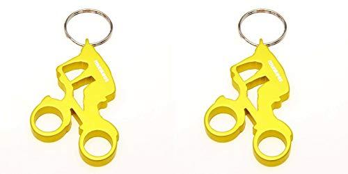 munkees 2 x Schlüsselanhänger Fahrrad Fahrer Flaschenöffner Alu, Sport-Geschenk, Doppelpack Gelb, 352729
