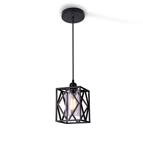 ENCOFT Lámpara Iluminación Colgante con Vidrio E27 Industrial Creativo Cubo, Luz de Techo Colgante en Metal para Sala de Estar Dormitorio Comedor Cocina, Negro Sin Bombilla