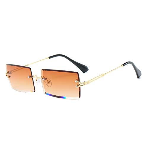 BUTABY Rimless Rectangle Sunglasses for Women/Men Ultralight Metal Frame Eyewear Fashion Square UV400 Glasses Unisex Tea