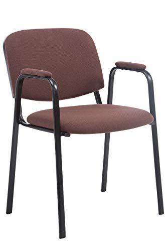 Chaise De Visiteur Ken Pro Tissu I Assise Dossier Accoudoirs Rembourrés I Chaise Salle d'Attente I Chaise De Conférence sur Piètement Métal I Couleur: Marron
