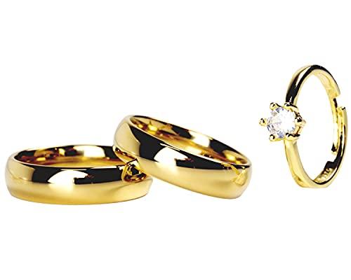Par Aliança Tradicional 6mm + BRINDE Anel Solitário Gold Ajustável Banhados Ouro