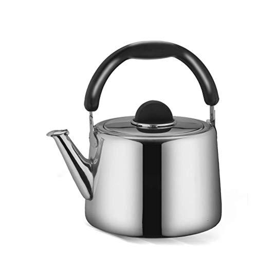Nfudishpu Whistling Tea Kettle Théière en Acier Inoxydable Poli avec poignée Ronde résistante à la Chaleur, adaptée à la Surface du poêle (Taille: 5L)