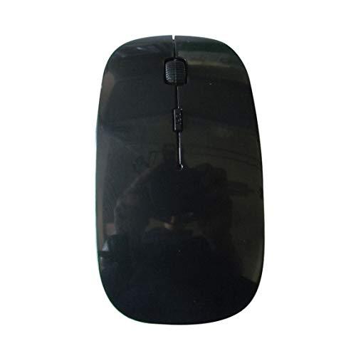 Mini ratón inalámbrico, ratón óptico inalámbrico USB para computadora Ratones 2.4G Receptor Ratón súper Delgado para PC portátil - Negro