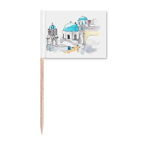 Imerovigli Dorf in Santorini Griechenland Zahnstocher Flaggen Marker Topper Party Dekoration