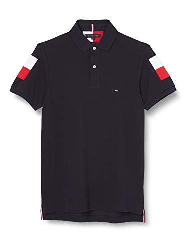 Tommy Hilfiger GS Sleeve Color Block Slim Polo Camicia, Blue, M Uomo