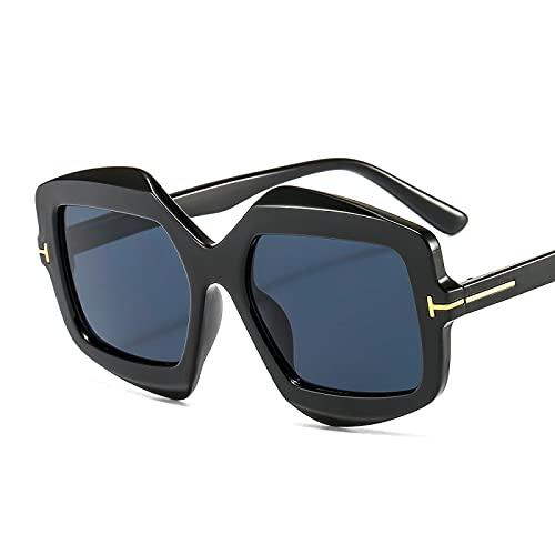 Gafas De Sol Gafas De Sol Cuadradas De Gran Tamaño De Moda Vintage para Mujer, Diseño De Marca De Lujo Famoso, Gafas De Sol con Estampado De Leopardo para Mujer C2