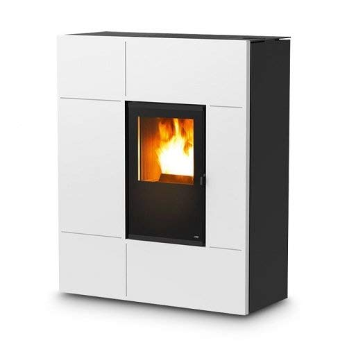 MCZ STREAM Comfort Air - Estufa de pellets (12 kW, revestimiento Stream-12-Bordeaux, Modem GSM/GPRS, interfaz WEB/WIFI)