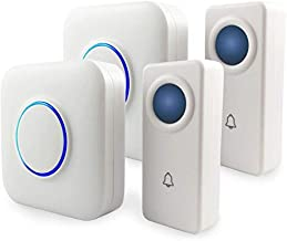 SKYPOINT Expandable Waterproof Wireless Doorbell - Loud Alert System, Multi-Unit Base Starter Kit includes 2 x Long Range Plug in Receivers and 2 x 100% Waterproof Transmitter Buttons, SBase, White