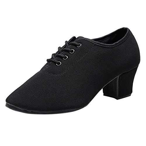 Dasongff Tanzschuhe Damen Schwarz Rot Soft Modern Ballrom Latein Dance Schuhe Practice Shoes Jazz Sneaker