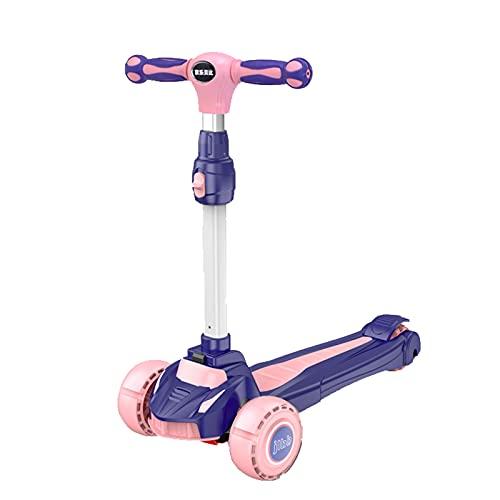 Scooter para niños, scooter de iluminación LED, scooter de niños con luces LED de 3 ruedas, manillar de placas ajustables, cubierta extra anchuar, para niños y niñas de 3 a 14 años de edad.,Rosado