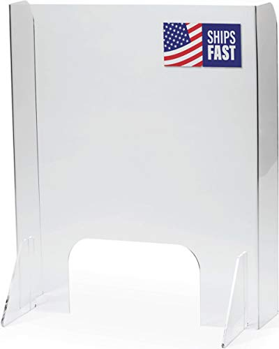 Total Coverage Sneeze Guard (Built-In Sidewalls) | USA-Made Acrylic Plexiglass Shield | Fast Shipping, 30 Second Setup | Plexiglass Barrier for Desk (Multiple Sizes)