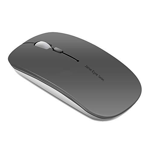 Kabellose Maus, wiederaufladbar, ultradünn, optische Mouse, leise, 1600 DPI, verstellbar, kabellos, für Computer, Laptop, MacBook grau grau