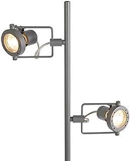 QAZQA Lámpara de pie industrial antracita 2 lámparas - Suplux Metálica Alargada Adecuado para LED Max. 2 x 50 Watt